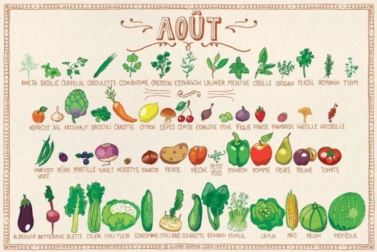 Tous les fruits et légumes du mois de Août